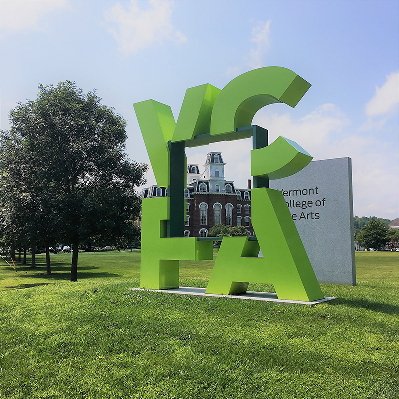 VCFA sign and College Hall